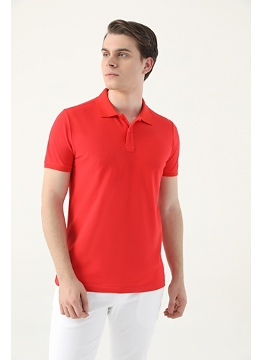 D'S Damat Regular Fitpike Dokulu T-Shirt Kırmızı